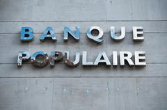 "Retail of the logo of the bank ""banque populaire"" Stock Photos"