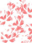 Flower petals on white background. Red color Stock Illustration