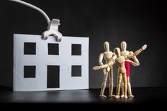 Family of wooden figures - stock photo
