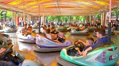Children And Parents Having Fun On Bumper Cars Ride - stock footage