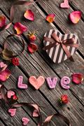 Word Love with Valentines Day gift box Stock Photos