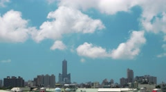 Kaohsiung aerial view of city with fast moving clouds. 4K speed up. Stock Footage