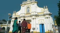 Pondicherry - People visiting Immaculate Conception Cathedral for Sunday service Stock Footage