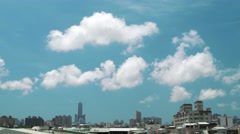 Kaohsiung aerial city view with fast moving clouds. 4K resolution Stock Footage