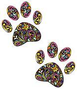 animal paw print on white background - stock illustration