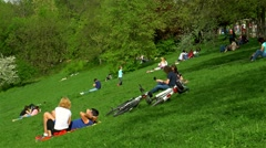 People Relaxing And Having Picnic In Youths Public Park (Parcul Tineretului) Stock Footage