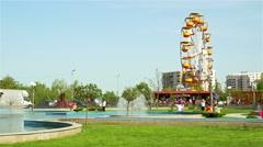 People Having Fun In Youths Public Amusement Park (Tineretului Park) Stock Footage