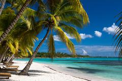 Tropical beach in caribbean sea, Saona island, Dominican Republic - stock photo