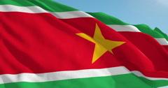 Beautiful looping flag blowing in wind: Suriname Stock Footage