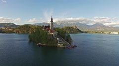 Aerial view Church in beautiful Bled Lake Stock Footage