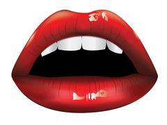 Beautiful red lips - stock illustration