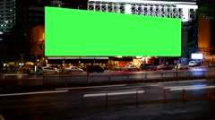 Blank Advertising Billboard green screen, for advertisement, time lapse. Stock Footage