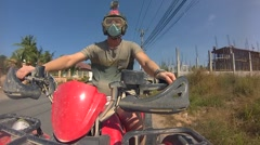 A guy travels to Thailand on an ATV. Time lapse video Stock Footage