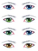 Colorful Male Eyes - stock illustration