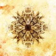 Ornamental mandala. Original hand draw and computer collage - stock illustration