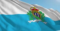 Beautiful looping flag blowing in wind: San Marino - stock footage
