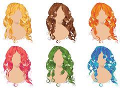 Curly Hair Styles - stock illustration
