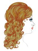 Curly Hairstyle - stock illustration