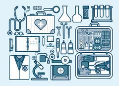 illustration of medic supplies, drugs, pills, tools, clothing, medical suitcase - stock illustration
