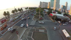 Flying over Roxas Boulevard in Manila Stock Footage