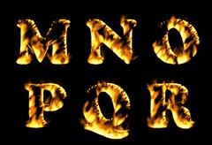 Fire burning letters set, fire font collection.  - stock illustration