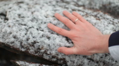 Trace of male hands on a snow-covered tree Stock Footage