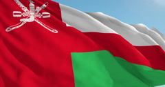 Beautiful looping flag blowing in wind: Oman - stock footage