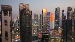 Dusk over downtown & central business district, Doha, Qatar, Middle East Stock Footage