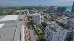 Octagon Tower Miami Beach aerial video Stock Footage