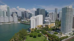 High drone over Brickell Miami Stock Footage