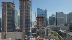 Aerial tour Brickell Heights construction site - stock footage