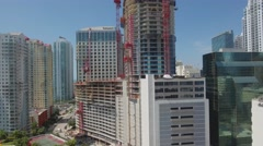 Aerial drone panorama tower brickell 4k Stock Footage