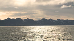 View to Svalbard with floating vessel Stock Footage