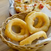 Fried onion rings. Side Dish.Fast food - stock photo