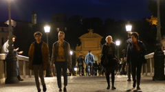 People tourists walking Rome night streets Stock Footage