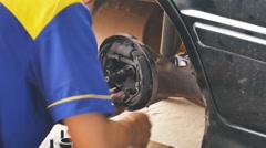 Car repairing in car service shop Stock Footage