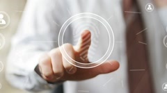 Businessman pressing modern technology panel fingerprint print web. Stock Footage