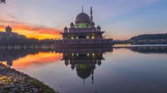 Putrajaya Mosque, Putrajaya Malaysia. 4k Time lapse. Sunrise Stock Footage