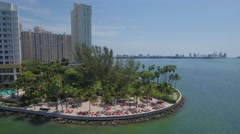 Aerial tour Brickell Key beach - stock footage