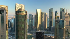 Late afternoon  downtown & central business district, Doha, Qatar, Middle East Stock Footage