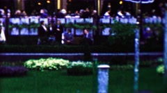 1961: Mod 60s bubbling water fountain restaurant bar park. - stock footage
