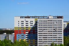 Two brick houses in Top view of Zelenograd Administrative District, Moscow Stock Photos