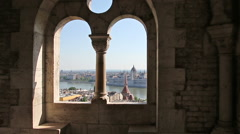 Looking through the window of the Parliament of Fisherman's Bastion. Budapest. Stock Footage