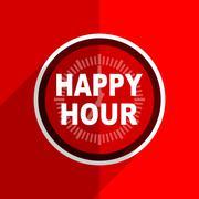 Red flat design happy hour web modern icon Stock Illustration