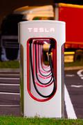 BRENNER, ITALY - MAY 8, 2016: Tesla charging stations are located throughout EU - stock photo