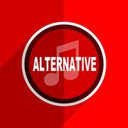 Red flat design alternative music web modern icon Stock Illustration