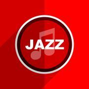 red flat design jazz music web modern icon - stock illustration