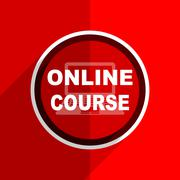 Red flat design online course web modern icon Stock Illustration