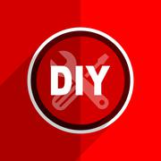 red flat design diy web modern icon - stock illustration