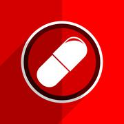 red flat design drugs web modern icon - stock illustration